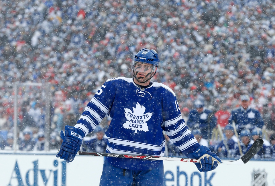 Leafs' Paul Ranger skates during a break in the first period of the Winter Classic outdoor NHL hockey game against the Detroit Red Wings at Michigan Stadium in Ann Arbor, Mich., Wednesday, Jan. 1, 2014. (AP Photo/Paul Sancya)