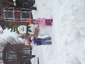 My daughters Beth 5 and Kate 2 enjoyed playing in the snow more than the (sick of winter) adults did.  The sign says it all! (Jennifer Christopher/CTV Viewer)