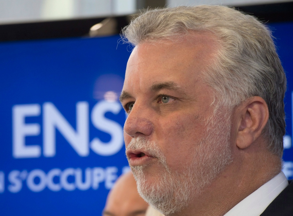 Quebec Liberal Party Leader Philippe Couillard at a news conference, in Trois Rivieres Que., Wednesday, April 2, 2014. (Jacques Boissinot / THE CANADIAN PRESS)