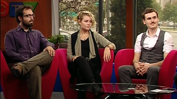 Nikolaos Gryspolakis, Laura Boyd, and Maxwell Ramstead are taking part in Occupy Montreal (Oct. 14, 2011)