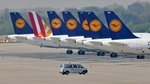 Lufthansa jets park at the airport in Duesseldorf, Germany, Wednesday, April 2, 2014. (AP / Martin Meissner)