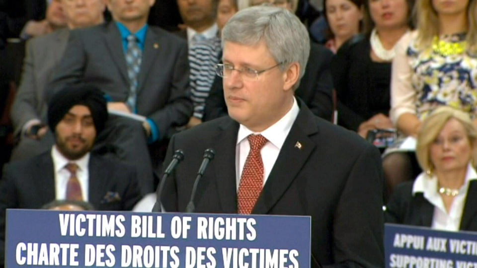 Prime Minister Stephen Harper unveils the government's victims' rights bill in Mississauga, Ont., Thursday, April 3, 2014.