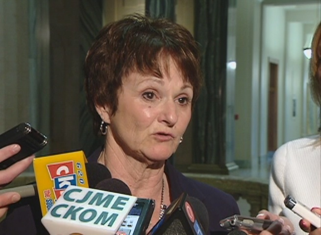 Social Services Minister June Draude speaks to media at the Saskatchewan legislature in this undated file photo.