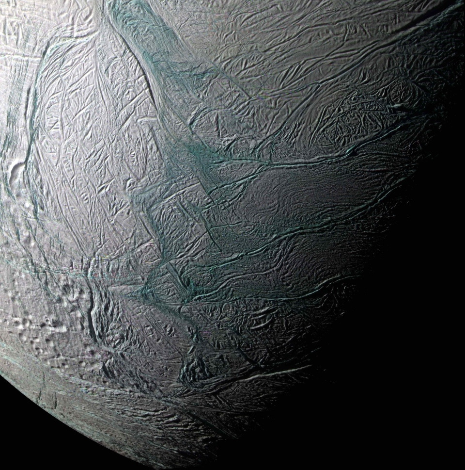 This image provided by NASA of Saturn's moon Enceladus was made by the Casini spacecraft during a fly-by on Aug. 11, 2008.