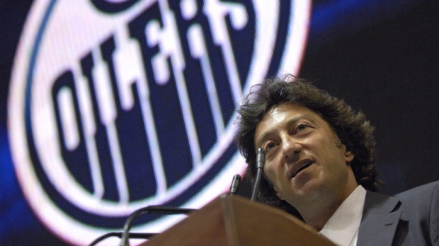 Edmonton Oilers owner Daryl Katz speaks to reporters at a news conference at the Rexall Arena in Edmonton on July 2, 2008.
