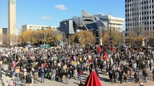 The crowd of Edmontonians taking part in the local 'Occupy' protests gathered in Churchill Square on Saturday, October 15.