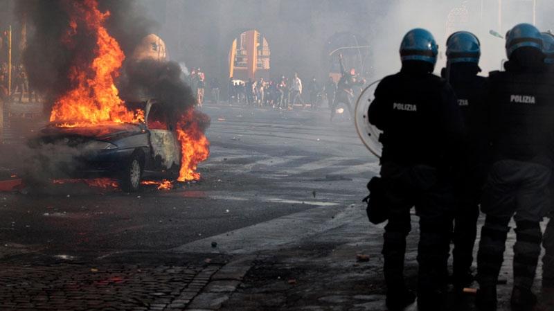 Protesters clash with police in Rome, Saturday, Oct. 15, 2011. (AP / Gregorio Borgia)