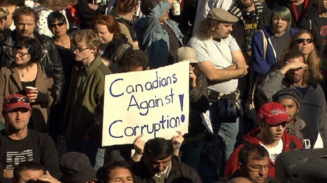 Protesters gathered at the Vancouver Art Gallery on Saturday, October 15, 2011 to participate in Occupy Vancouver. (CTV)