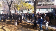 About 250 protesters made their way to the park on Jasper Ave. and 102 St., and many plan to camp there as part of the Occupy Edmonton protests on Saturday, October 15.