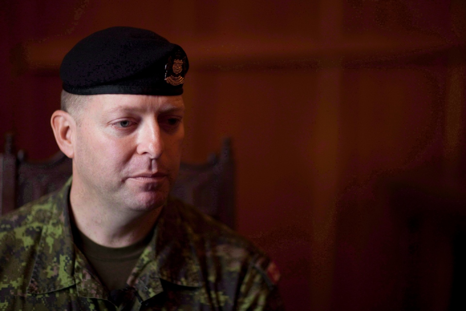 Then-Capt. Darryl Watts speaks during an interview with The Canadian Press in Calgary on Dec 8, 2010.  (Jonathan Hayward / THE CANADIAN PRESS)