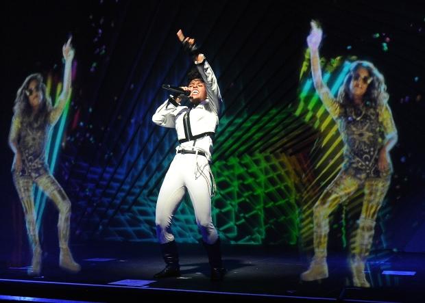 Janelle Monae performs alongside hologram of MIA