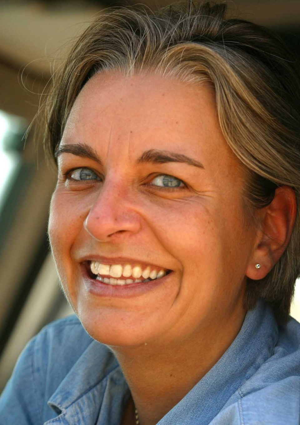 Associated Press photographer Anja Niedringhaus poses for a photograph in Jerusalem in 2003. Niedringhaus was killed when an Afghan policeman opened fire while they were sitting in their car in eastern Afghanistan, Friday, April 4, 2014. (AP)