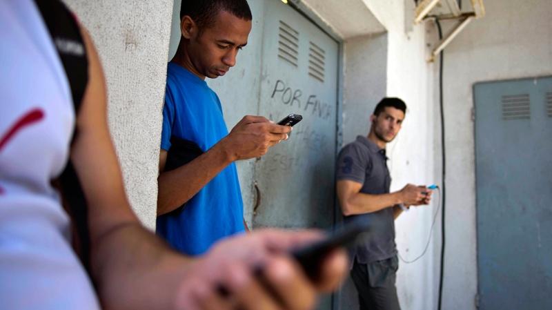 Looking for an Internet signal in Havana, Cuba