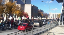 Hundreds of protesters started to march through the downtown core, starting on 99 St. alongside City Hall after 1 p.m. Saturday, October 15.
