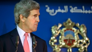 U.S. Secretary of State John Kerry in Rabat, Morocco Friday April 4, 2014. (AP Photo/Jacquelyn Martin, Pool)