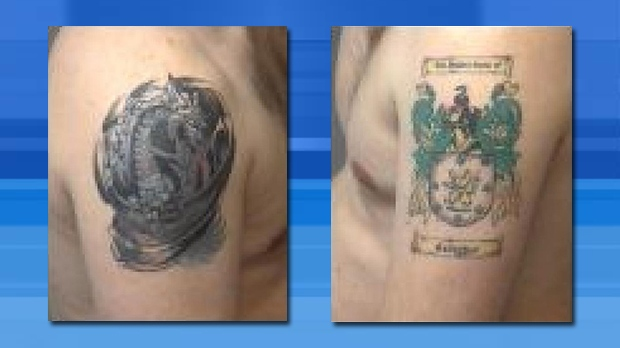 Derrick Gallagher's left and right shoulder tattoos. (OPP handout)