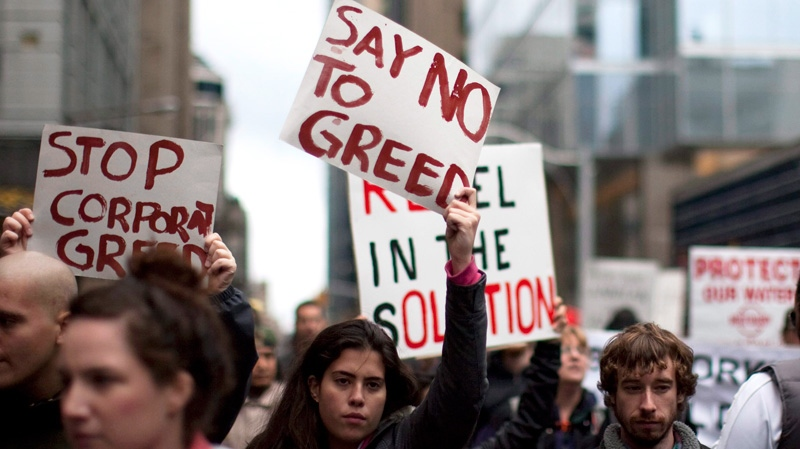 Protesters march on Toronto's financial district