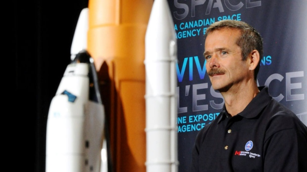 Canadian astronaut Chris Hadfield speaks at the Canadian Aviation and Space Museum in Ottawa on May 12, 2011. (Sean Kilpatrick / THE CANADIAN PRESS)