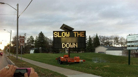 MPI and Winnipeg police are looking into the hacking of MPI's electronic signs over the weekend. (Photo courtesy: Sylvie Shachtay)