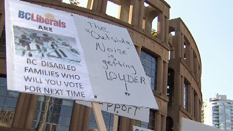 A group of demonstrators gathered in downtown Vancouver on Sunday, October 16, 2011 to protest government funding and programming cuts to CLBC. (CTV)