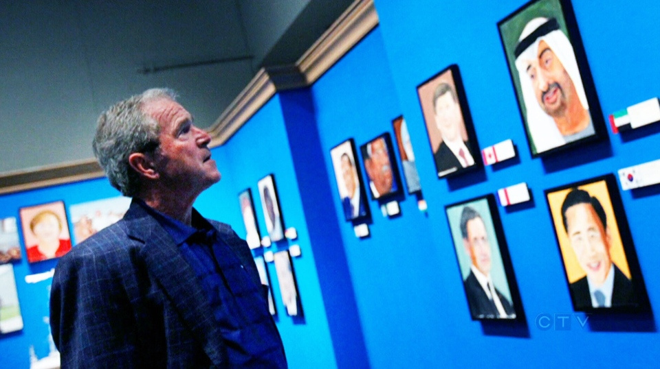 Former President George W. Bush is displaying his portraits of world leaders in the first exhibit of his work as an artist.