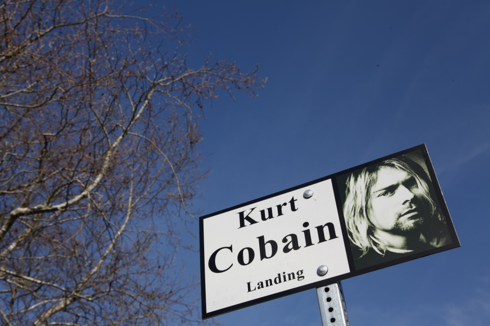 A sign in Kurt Cobain Park in Aberdeen, Washington is shown on Tuesday, April 1, 2014 (AFP / Sebastien Vuagnat)