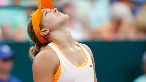 Eugenie Bouchard, of Canada, looks up during a mat