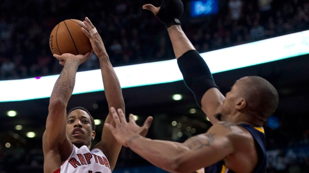 Toronto Raptors guard DeMar DeRozan shoots