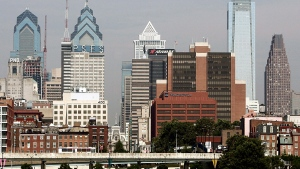 The Philadelphia skyline is seen in this file photo taken from Camden, N.J., Monday, June 16, 2008 . (AP / Tom Mihale, File)