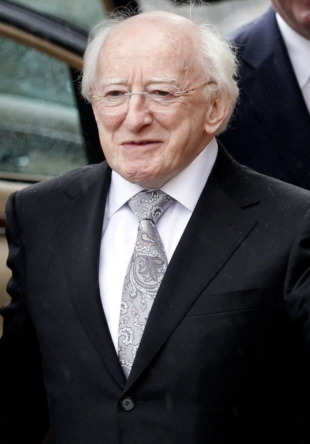 Michael D Higgins arrives for his inauguration