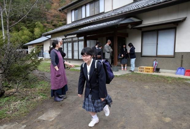 Kokoro Kamiyama, 13, leaves her dormitory