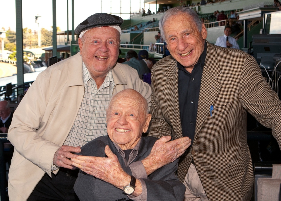 Entertainment icons Dick Van Patten, left, and Mel Brooks flank Mickey Rooney at Santa Anita Park, in Arcadia, Calif., Sunday, March 30, 2014. (AP / Benoit)