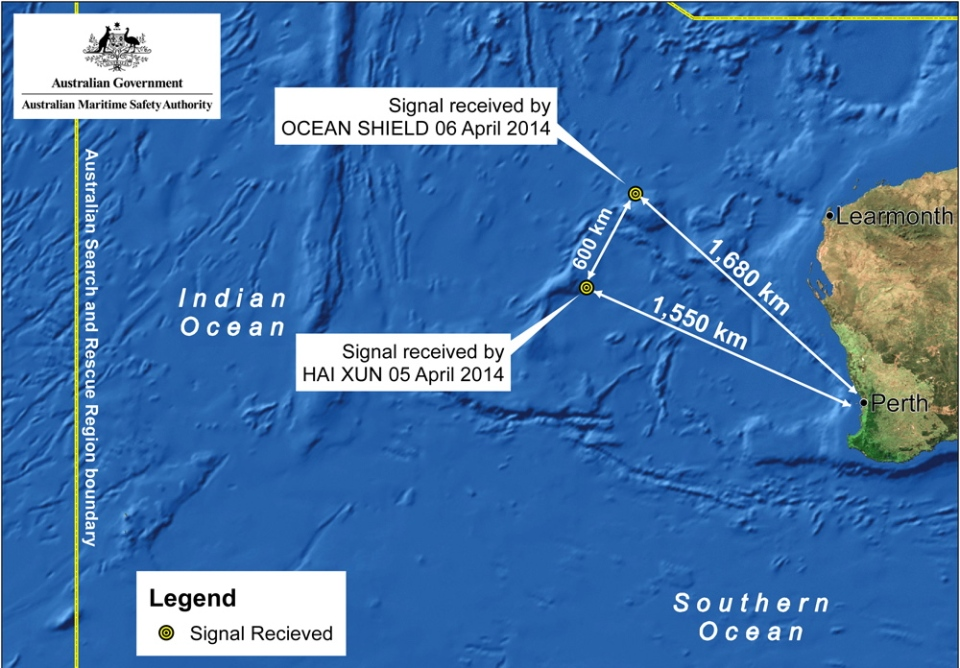 A map indicating the locations of search vessels looking for signs of the missing Malaysia Airlines Flight 370 in the southern Indian Ocean are shown, Monday, April 7, 2014. (Joint Agency Coordination Centre)