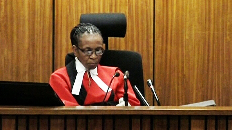 Judge Thokozile Masipa presiding over the murder case of South Africa's Oscar Pistorius.