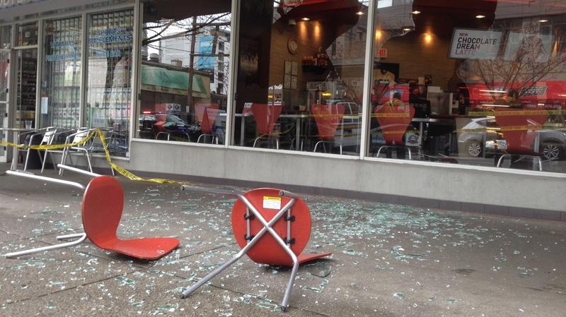 man goes berserk in tim hortons  throws chair through