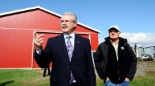 Agriculture Minister Gerry Ritz walks with cash cropper Don Kenny on his farm in Ottawa on Tuesday, October 18, 2011 prior to making an announcement regarding the government's bill to eliminate the Canadian Wheat Board. (Sean Kilpatrick / THE CANADIAN PRESS)