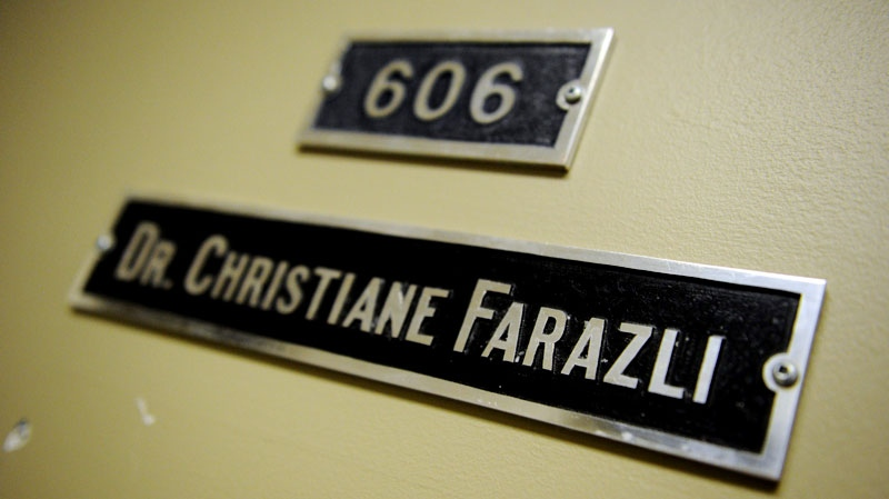 The door name and number for Dr.Christian Farazli's clinic in the Parkdale Medical Tower is shown in Ottawa on Monday, October 17, 2011. (Sean Kilpatrick / THE CANADIAN PRESS)