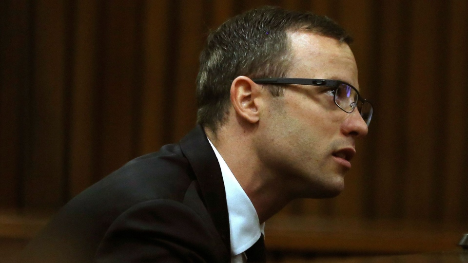 Oscar Pistorius sits in the dock at a court in Pretoria, South Africa, Monday, April 7, 2014. (AP / Themba Hadebe)