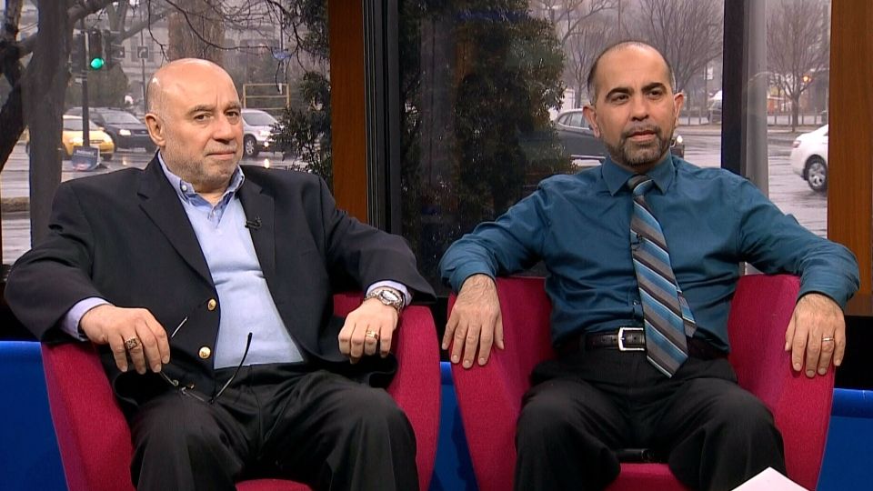 Samer Majzoub from Canadian Muslim Forum, right, and Lucian del Negro from The Centre for Israel and Jewish Affairs, appear on Canada AM from CTV studios in Montreal, Tuesday, April 8, 2014.