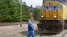 Stationary locomotive in Fremont, Nebraska
