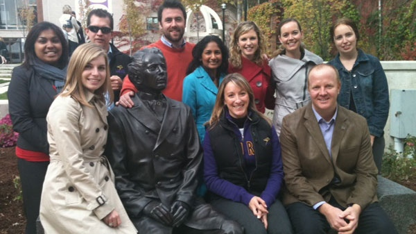 Wilfrid Laurier University unveiled a statue of Sir Wilfrid Laurier as part of the school's centennial festivities on October 18, 2011.