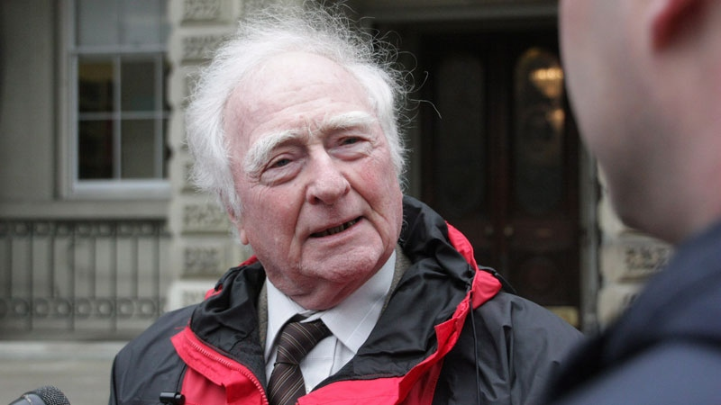 Michael McAteer, a permanent resident opposed to having to swear an oath to the Queen as a condition of Canadian citizenship, is seen outside the Ontario Court of Appeal in Toronto on Tuesday, April 8, 2014. (Colin Perkel / THE CANADIAN PRESS)