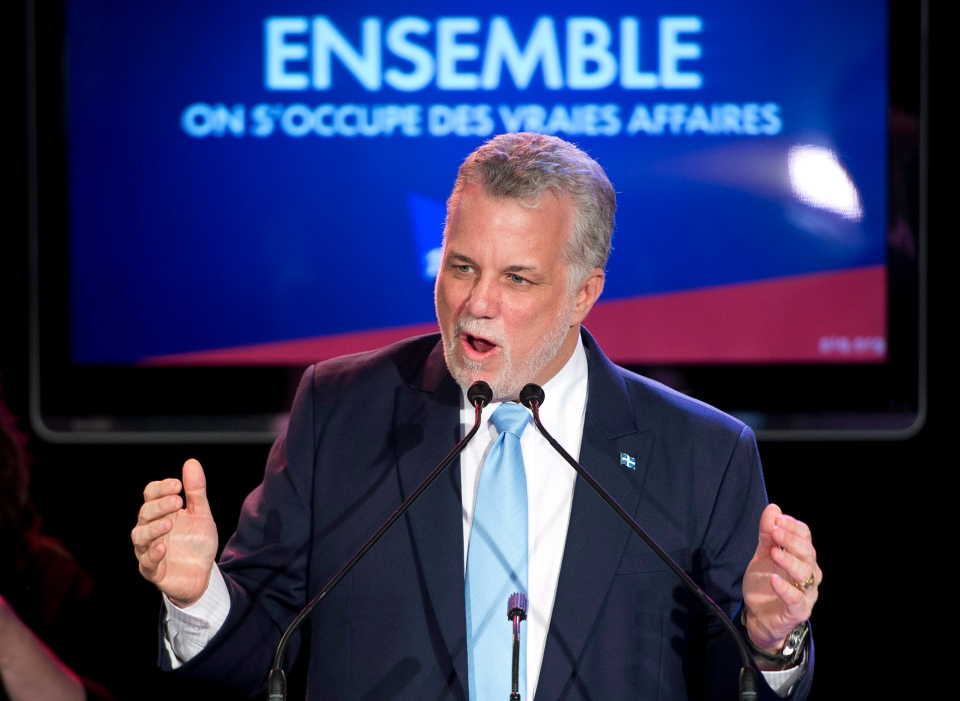 Quebec Liberal Leader Philippe Couillard speaks to supporters in his victory speech, Monday, April 7, 2014 in St-Felicien, Que.THE CANADIAN PRESS/Jacques Boissinot