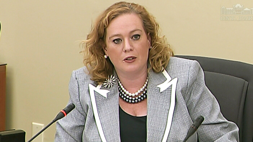 Progressive Conservative energy critic Lisa MacLeod speaks at a hearing into the alleged deletion of emails related to the cancelled gas plants, at Queen's Park in Toronto, Tuesday, April 8, 2014.