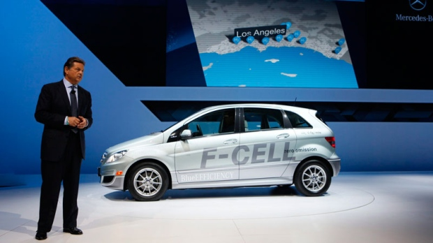 Ernst Lieb, President and CEO of Mercedes- Benz USA, unveils the latest DaimlerChrysler fuel cell vehicle, Mercedes-Benz, the 'F-Cell'fuel cell, a zero emission vehicle fueled by compressed hydrogen at the LA Auto Show Wednesday, Nov. 17, 2010 in Los Angeles. (AP / Damian Dovarganes)