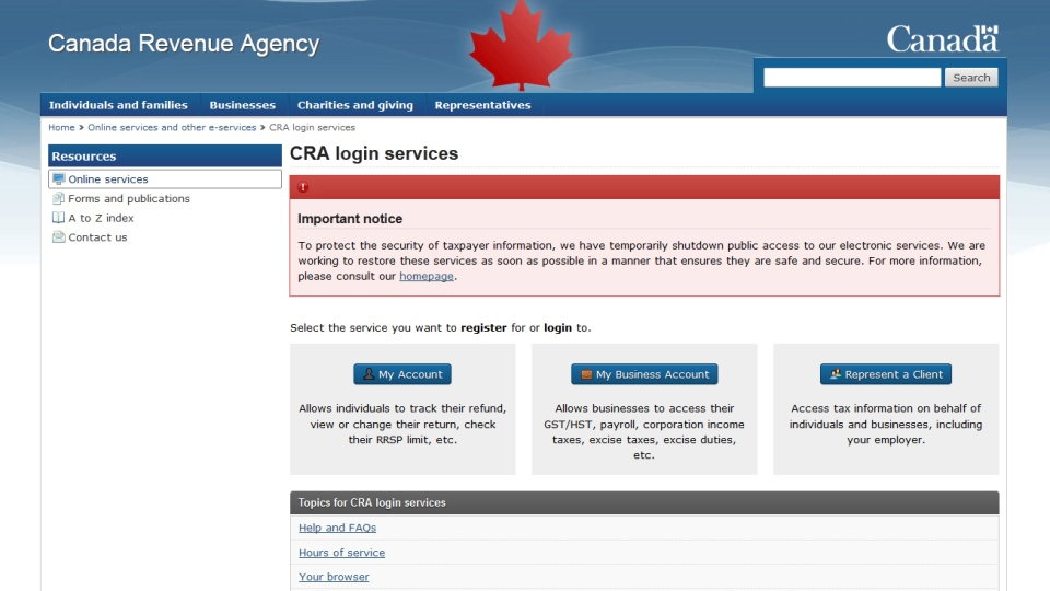 The Canada Revenue Agency has shut down public access to its electronic services website over security concerns.