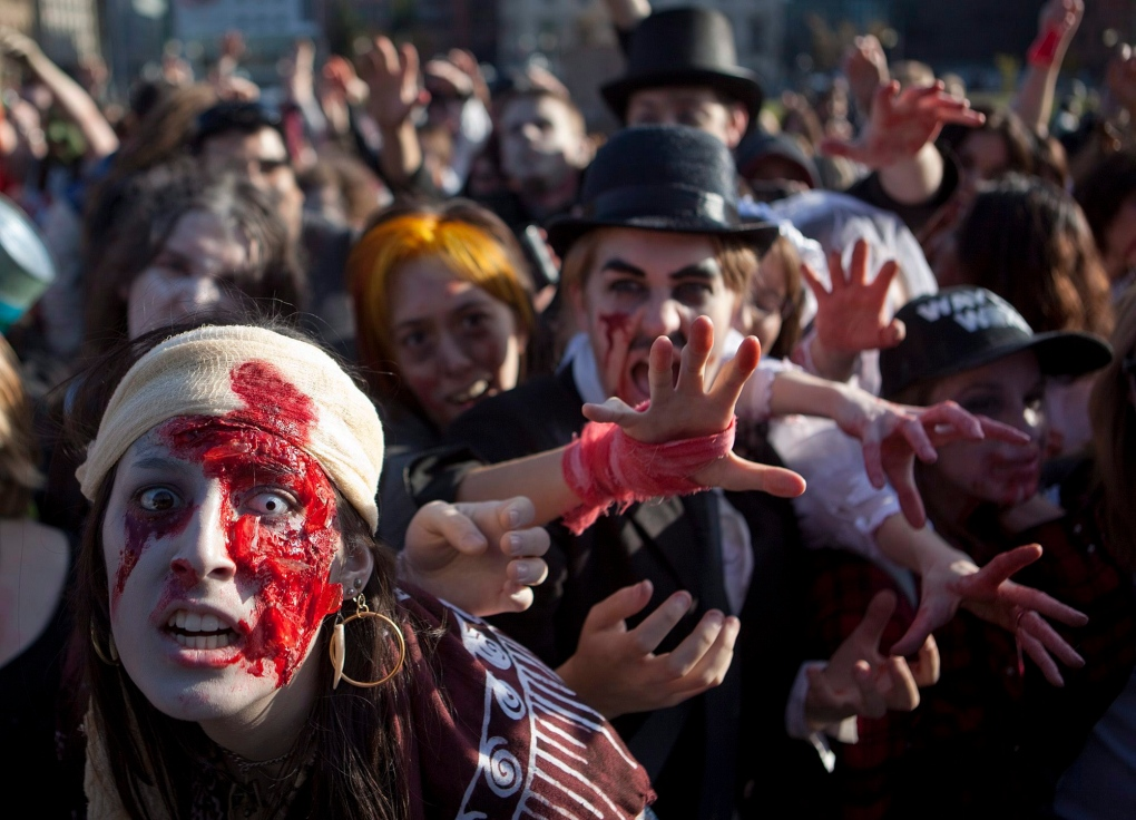 Zombie walk on Parliament Hill in Ottawa