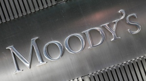 The signage for Moody's Corp., is shown in New York, Aug. 24, 2010. (AP / Mark Lennihan)