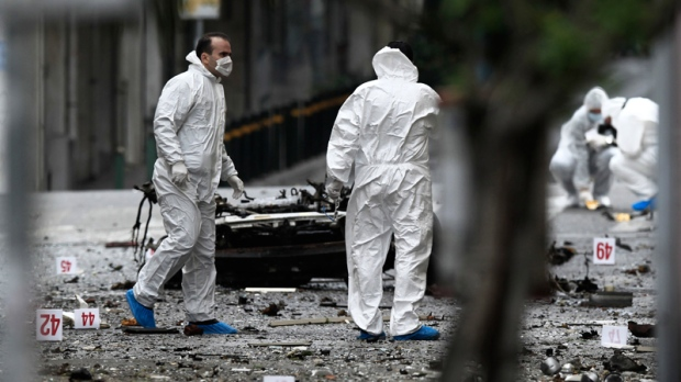 Police bomb disposal experts in Athens, Greece