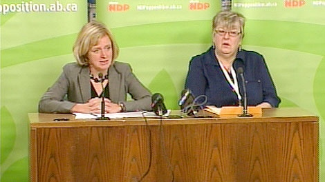 Edmonton-Strathcona MLA Rachel Notley and Sherry Reynolds, who requires a rental subsidy, at a press conference asking the government to continue the subsidy program. Thursday, October 20.